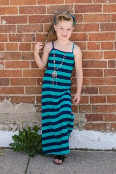 Girls Striped 3 Piece Maxi Navy. Ryleigh Rue Clothing by Modern Vintage Boutique