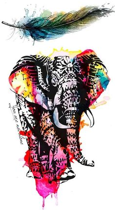 Elephant and feather watercolor tattoo.