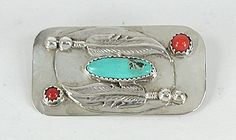 Vintage NOS Feathers pin with turquoise and coral