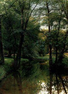 """laclefdescoeurs: """" Figures Resting In A River Landscape, 1898, Peder Mørk Mønsted """" Peder Mørk Mønsted (Danish,1859-1941)"""