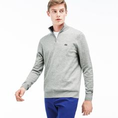 LACOSTE Men's Zip Jersey Sweater - silver/navy blue. #lacoste #cloth #all