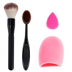kit pincel oval escova de limpeza do purificador + rosa sopro esponja de maquiagem + maquiagem escova cosmética Oval creme Blush em pó Brush maquiagem