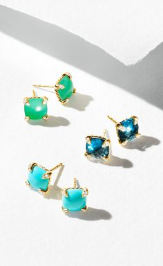 Châtelaine studs with chrysoprase, Hampton blue topaz, or turquoise.