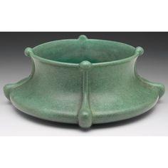 "Teco Pottery - Low Bowl, Number 341. Matte Glazed Pottery. Chicago, Illinois. Circa 1900. 3-1/2"" x 10""."