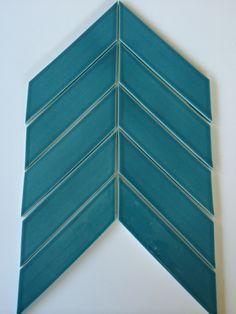 I like Shape of these tiles Sample of Chevron Tile Teal Agate Chevron Tile, Modern Barn House, Downstairs Toilet, Blue Tiles, Tile Ideas, Material Design, Mosaic Tiles, Agate, New Homes