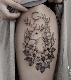 Deer thigh tattoo - 45 Inspiring Deer Tattoo Designs