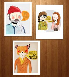 Wes Anderson Art Print Trio | This set of three illustrated pen and ink prints feature an ho... | Posters