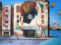 """Time to Exist"" - surreal painting by Ishyndar (Raceanu Mihai), via deviantArt Street Art, Surrealism Painting, Building Art, Soul Art, Paris, Art Plastique, Surreal Art, Optical Illusions, Artsy Fartsy"