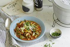 Das Rezept für Veganer Kichererbseneintopf mit Ajwar mit allen nötigen Zutaten und der einfachsten Zubereitung - gesund kochen mit FIT FOR FUN