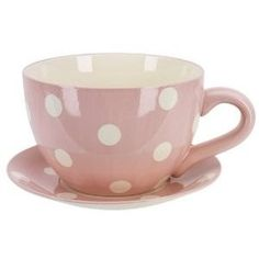 Ethos Giant Cup & Saucer Planter / Fruit Bowl, Pink Polka Dots Design, In Colour Box: Amazon.co.uk: Kitchen & Home