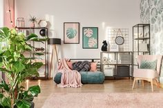 Create a beautiful botanical bedroom with printed walls and stylish open storage. Treat your teenager to these dusky pink tones and fun forest green accessories. Pink Green Bedrooms, Bedroom Green, Green Rooms, Dusky Pink Bedroom, Bedroom Black, Bedroom Storage, Bedroom Decor, Bedroom Ideas, Bedroom Prints
