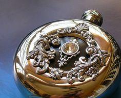 Window Flask Round Hip Flask Window Luxury Liquor by LeBoudoirNoir