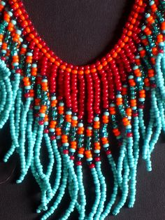 Native American beadweaving necklace in by MontanaTreasuresbyMJ