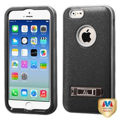 MYBAT Natural Black/Iron Gray TUFF VERGE Hybrid Protector Cover (with Stand) for APPLE iPhone 6 (4.7-inch)