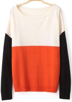 White Orange Long Sleeve Knit Loose Sweater 25.00