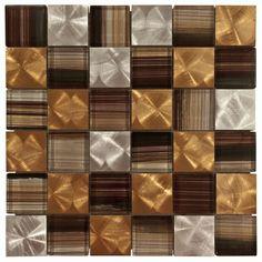 """Santa Vincent Brick Glass and Metal Mosaic"" -- Gorgeous backsplash tile."