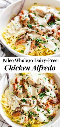 "Clean Eating Meals This creamy paleo chicken Alfredo is packed with flavor, quick to throw together and great for weeknights! Tossed with perfectly ""al dente"" spaghetti squash, this meal is gluten free, dairy-free, low carb and compliant. Whole30 Dinner Recipes, Paleo Dinner, Paleo Recipes, Real Food Recipes, Paleo Food, Dairy Free Recipes Chicken, Low Carb Meals Chicken, Non Dairy Dinner, Low Carb Recipes"