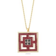 """Just Jewelry Zora Necklace  $27 Description Intricate and multidimensional, this red textured pendant dangles gracefully in front of a brushed golden disc. Terrific layering piece to add a new dimension. ADDITIONAL INFO 30-33"""" necklace"""