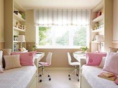 Dormitório infantil compartilhado para meninas.