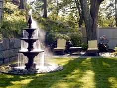 A fountain is one of the best things to create to decorate a front yard since a fountain can help beautify the area it's in. You should consider creating a fountain in your front yard if you want to beautify it. To create a front yard fountain, of co Patio Water Fountain, Backyard Water Fountains, Landscaping With Fountains, Water Fountain Design, Backyard Water Feature, Garden Fountains, Front Yard Landscaping, Water Garden, Fountain Ideas