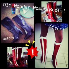 DIY Wonder Woman boots from a pair of $8 Goodwill boots! (Just Red Spray Paint & White Acrylic, handpainted)