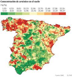 El mapa del arsénico se asocia a un mayor riesgo de cáncer en España