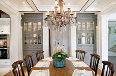like the built ins   Elegant Traditional Dining Room with Custom China Cabinets traditional dining room