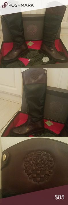 Gorgeous Vince Camuto riding boots Black and brown riding boots brand new in box. ABSOLUTELY GORGEOUS! Vince Camuto Shoes Winter & Rain Boots