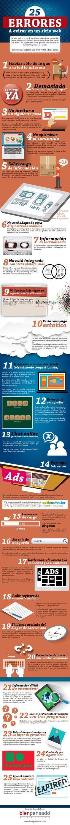 25 errores a evitar en un sitio web (infografía)