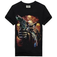 Skeleton Shooting - Red 3D Short-Sleeved Mens T-Shirt
