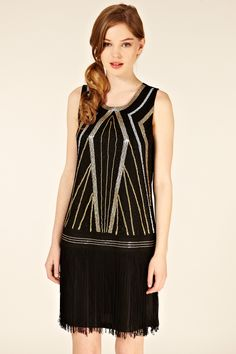 Art Deco flapper dress, Gatsby style Low waist line. Geometric print . Sequence. flat bust. straight silhouette