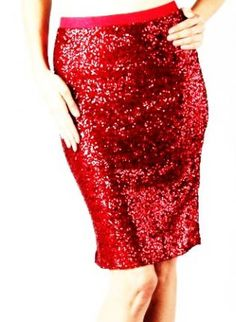 Lady in Red Sequins Pencil Skirt,  Skirt, Pencil Skirt  Longer Length Skirt  Sequin, Chic