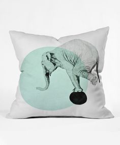 Look at this Morgan Kendall Blue Elephant Throw Pillow on #zulily today!