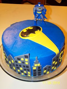 Batman cake--do a double tier though with Batman on top and the bat signal and stars on the 2nd tier.