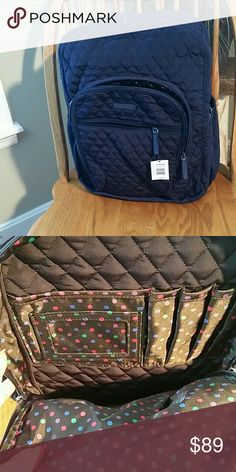 Vera Bradley Large Campus Backpack Classic quilted mazy. Side pockets. ID slot and pen holder in front zipper. Vera Bradley Bags Backpacks