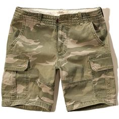 Hollister Classic Fit Cargo Shorts ($16) ❤ liked on Polyvore featuring men's fashion, men's clothing, men's shorts, olive, mens cargo shorts, mens camo cargo shorts, mens camouflage cargo shorts, mens camouflage shorts and mens camo shorts