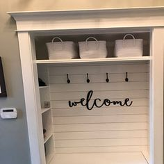 Home Remodeling Decor Welcome wood words wood word cut out laser cut wedding Front Closet, Entry Closet, Closet To Mudroom, Hall Closet, Closet Bench, Coat Closet Organization, Front Hallway, Home Renovation, Home Remodeling