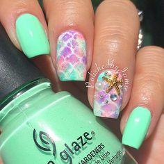 Mermaid Nails by @polishedbyjamie #mermaidnails #mermaidmani