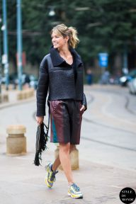 Helena Bordon wearing Just Cavalli leather jacket, Chanel trainers and Barbara Bonner bag before...