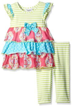 Bonnie Jean Girls' Knit Mixed Print Tiered Playwear Set, Lime, 6. 2 piece set. Front bow. Tiered skirt.