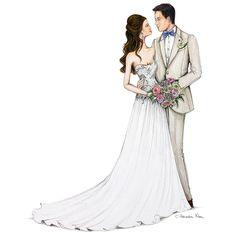 My beautiful bride 💕💕 Wedding Drawing, Wedding Dress Sketches, Wedding Painting, Wedding Art, Wedding Images, Wedding Bride, Wedding Dresses, Wedding Illustration, Illustration Mode