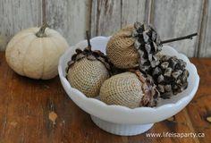 DIY Acorns made with plastic Easter eggs, burlap and pinecones...so cute!