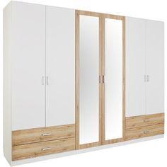 """Armoire penderie lingère 4 portes + 2 portes miroir + 4 tiroirs """"Rauch"""" - Blanc / décor chêne- Vue 1"""