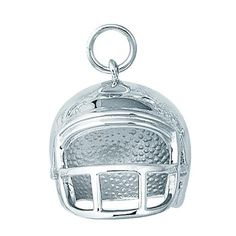 $39.83 Designed in sterling silver this LARGE FOOTBALL HELMET charm weighs 4.20g grams and measures 19X14MM. The charm features a jump ring that can be applied to any bracelet or chain. All charms are rhodium plated and are guaranteed not to tarnish.