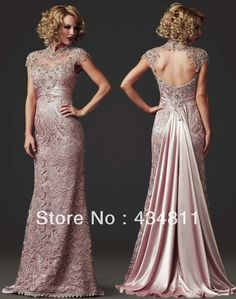 Elegant Sheer High Collar Cap Sleeve Beaded/Crystal Lace 2014 Light Pink Evening Dresses Open Back Design Prom Gowns