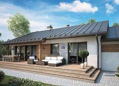 Projekt domu Roberto II Sz 83,20 m² - koszt budowy - EXTRADOM Atrium, Madurai, Small House Design, Outdoor Decor, Studio, Home Decor, Cottages, Casamento, Modern House Facades