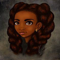 Pig Tails by KiraTheArtist on DeviantArt Black Love Art, Black Girl Art, Black Is Beautiful, Art Girl, Black Girls, Beautiful Artwork, Natural Hair Art, Pelo Natural, Natural Hair Styles