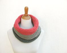 Color Block Skinny Cowl Scarf Salmon Infinity Scarf by VeraJayne Love the colors! Coral Pink, Pink Grey, Hand Crochet, Knit Crochet, Handmade Scarves, Cowl Scarf, Salmon, Infinity, Gifts For Her