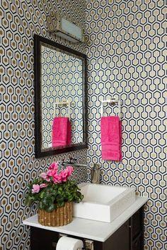 Anne Hepfer Designs: Stunning bathroom with David Hicks Hexagon Wallpaper