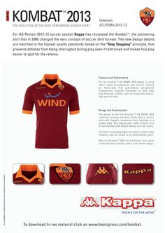 e13c28efa AS Roma Jersey Indenti-Kit. Kombat 2013 Team Wear